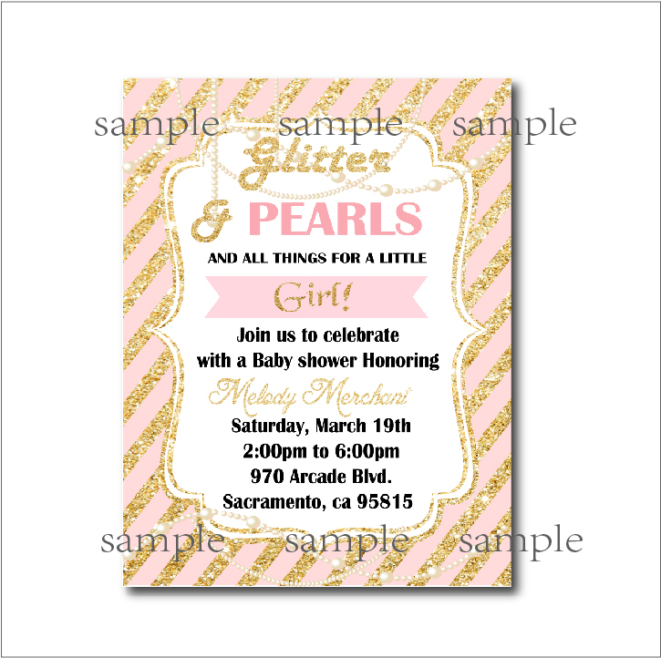 20 pcs/lot Gold glitter pearl Princess Baby Shower Party Invitation ...