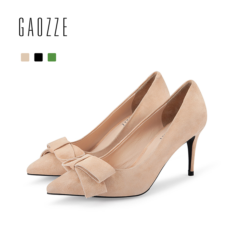 GAOZZE Pointed Toe Lovely Bow-Knot Suede Leather Thin High Heels Pumps Shoes Slip-On Solid Women Office Shoes 2018 Spring New
