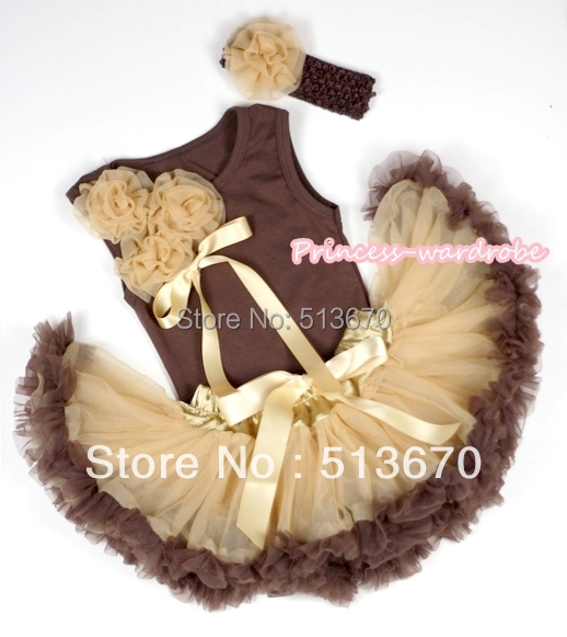 Bebé de oro de Brown Pettiskirt marrón Top Bunch Goldenrod Rose arco con Borwn diadema y Goldenrod Rose Clip MABG66
