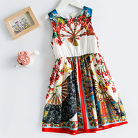 Beenira Girls Summer Dresses 2019 New Europen And American Style Children 4 14Y Dress Kids Sleeveless Pattern Dress Girls Cloth