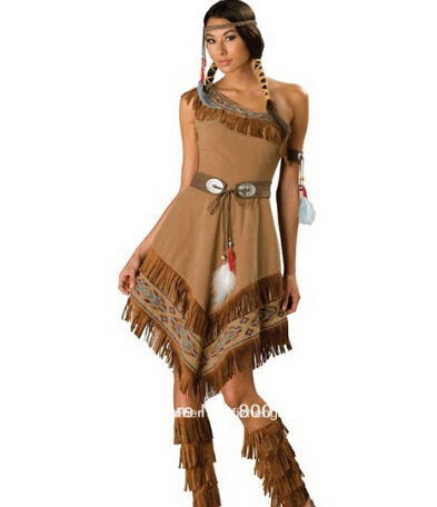 397ad51307861 free shipping Ladies Pocahontas Native American Indian Wild West Fancy  Dress Party Costume indian costume