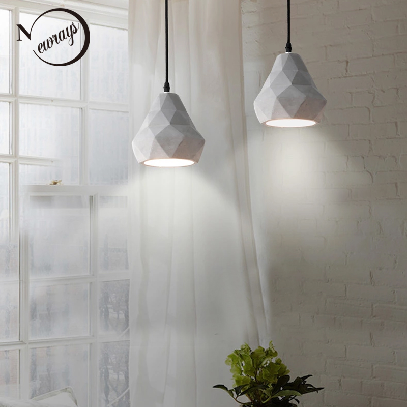 Loft retro concrete pendant light E27 LED industrial hanging lamp cement with 4 styles for kitchen living room dining room cafe loft style vintage pendant lamp iron industrial retro pendant lamps restaurant bar counter hanging chandeliers cafe room