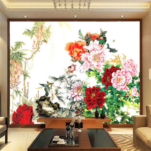 Flower bird painting photo wallpaper chinese style wall for Chinese mural wallpaper