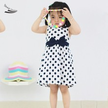 New Fashion Girls Dresses Blue Dot Cotton Sundress Party Birthday Casual Baby 2 Colors Children Clothes Size 2-12