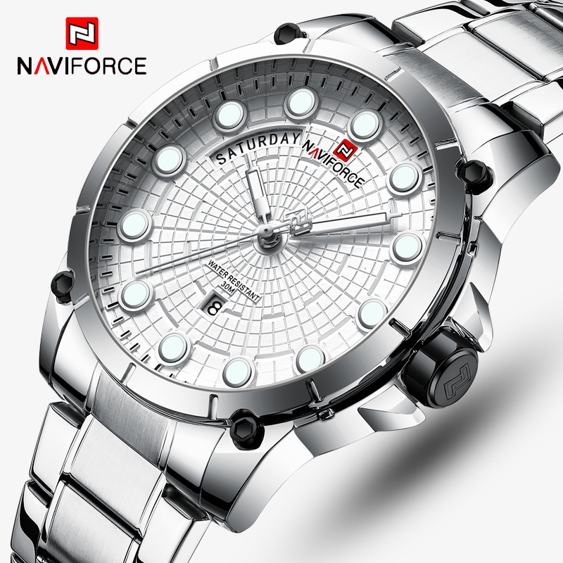 New Watches Men Luxury Brand NAVIFORCE Men Sports Watches Waterproof Full Steel Quartz Men's Military Watch Relogio Masculino