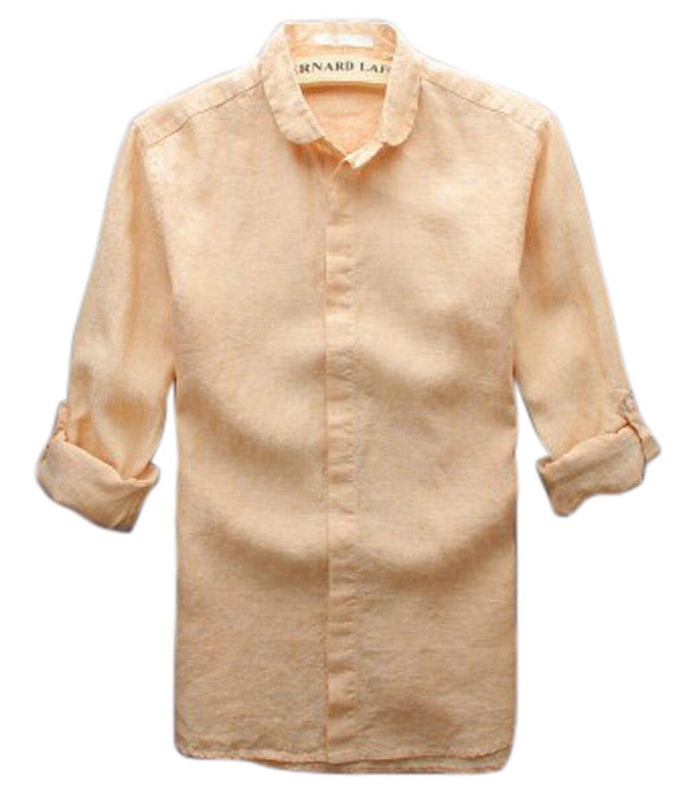 Linnen Overhemd Heren Lange Mouw.Mannen Overhemd 2015 Chinese Stijl Vintage Linnen Shirt Heren Lange