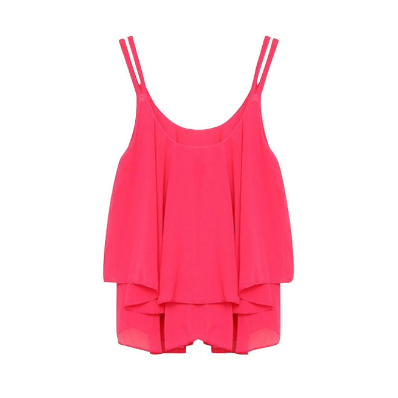 Women's Clothing Summer Women Chiffon Sleeveless Vest Top Ladies Casual Loose Tops Fashion Blouse Products Hot Sale