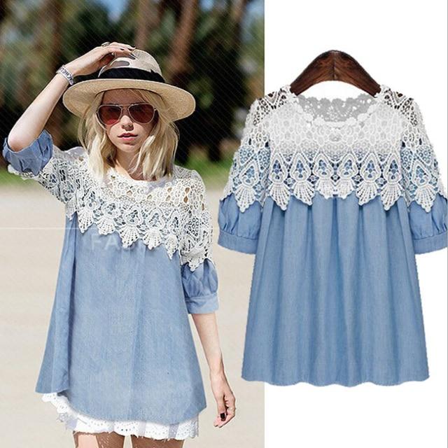 Plus Size Blue Jeans Dress Lace Patchwork Denim Shirt Dress for ...
