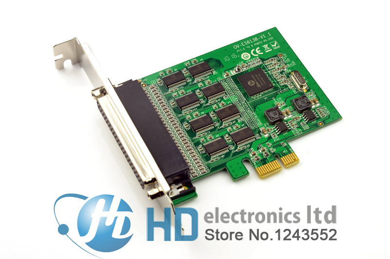 8 Port Serial PCI-Express with cable controller card SYSTEM BASE SD6138 Chipset RS-232  RS232 serial port expansion cards iocrest io pce9922 2s mcs9922cv chipset 2 port db 9 serial rs 232 pci express controller card