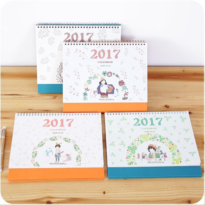 2017cute desk calendar cartoon scheduler agenda planner organizer monthly daily planner spiral - Agenda da tavolo 2017 ...