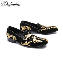 Deification Mocassin Homme Gold Flowers Embroidery Mens Loafers Driving Flats Soft Velvet Slippers Slip On Party Wedding Shoes deification mocassin homme red flower embroidered mens flats loafers velvet slippers comfortable leather shoes men wedding shoes
