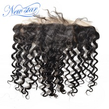 New Star Deep Wave Brazilian Virgin Human Hair Lace Frontal 13×4 Free Part With Baby Hair Knots Bleached Natural Hairline