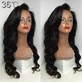 8A ondulada cheia do laço perucas de cabelo humano com franja Glueless brasileiro onda do corpo do cabelo virgem ondulado longo perucas de cabelo do bebê para as mulheres negras