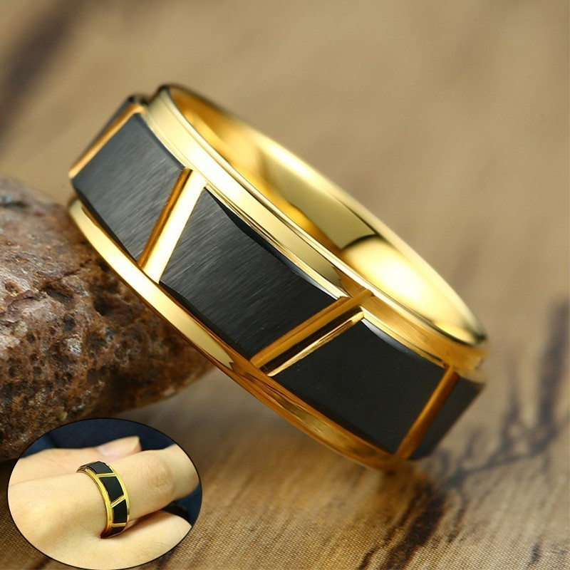 Men's Gold and Black Tone 8mm Tungsten Carbide Ring