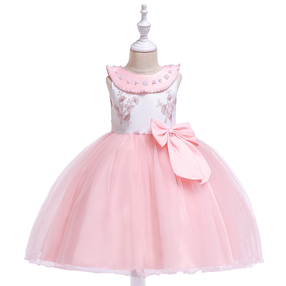 Smart A-Line Sleeveless   Flower     Girl     Dresses   For Wedding Tulle Pink First Communion   dresses   Kids Evening Party Gowns