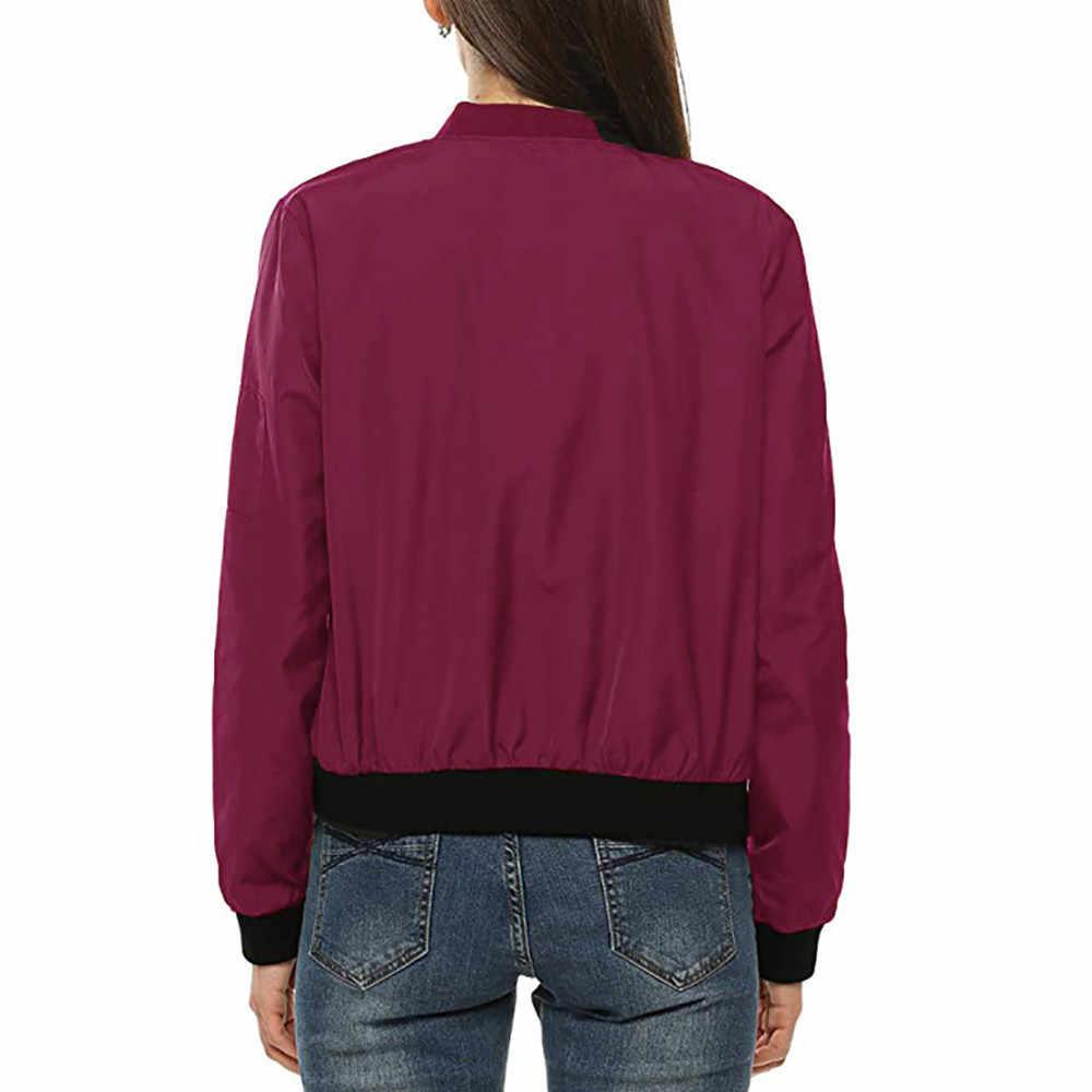 Chamsgend ボンバージャケットコート女性スポーツランニングトレーニングプラスサイズコートポケットジッパー長袖女性フィットネス屋外トップス