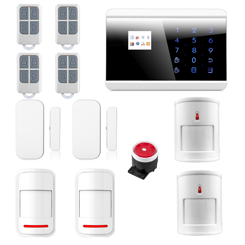 IOS android APP Smart Control Wireless GSM PSTN Touch LCD Home House Intruder Alarm System Immune Pet Alarma 8218G wireless gsm pstn home alarm system android ios app control glass vibration sensor co detector 8218g