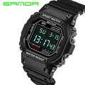 2016 New SANDA Men Sport Casual Watch LED 3ATM Calendar Digital Watches Student Outdoor Wristwatches Wrist Watch Black OP001