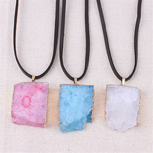 Natural Stone Agates Crystal Necklace Geometric Square Pendant Electroplated Gold Opal Pendant Necklace For Women Chain Choker chic faux crystal square pendant necklace for women