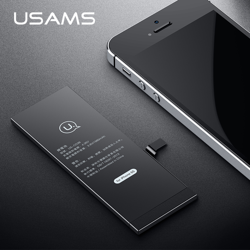 For iPhone 5S Battery USAMS Original iPhone5S iP5S Mobile Phone Lithium Battery Power Real Capacity 1560mAh Bank With Tools Kit