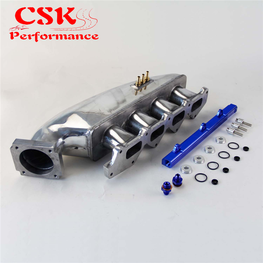 Alloy Intake Manifold + Fuel Rail For Mitsubishi EVO 1 2 3 4G63 92-95 engine swap turbo intake manifold for mitsubishi evo 4 9 4g63 high performance polished it5934