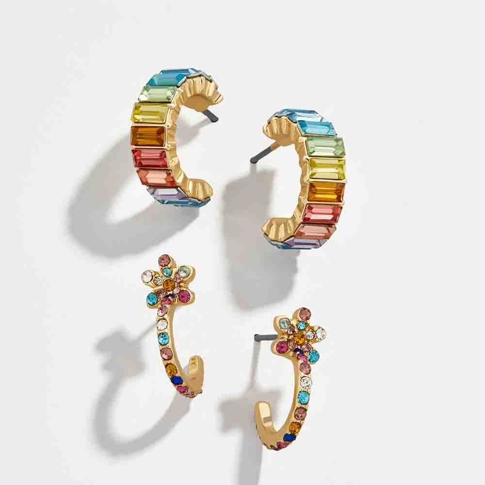 New Fashion CZ Rainbow Flower Stud Earring for Women Boho Geometric Statement Small Circle Ear Cuff Earring Bohemia Jewelry 2019