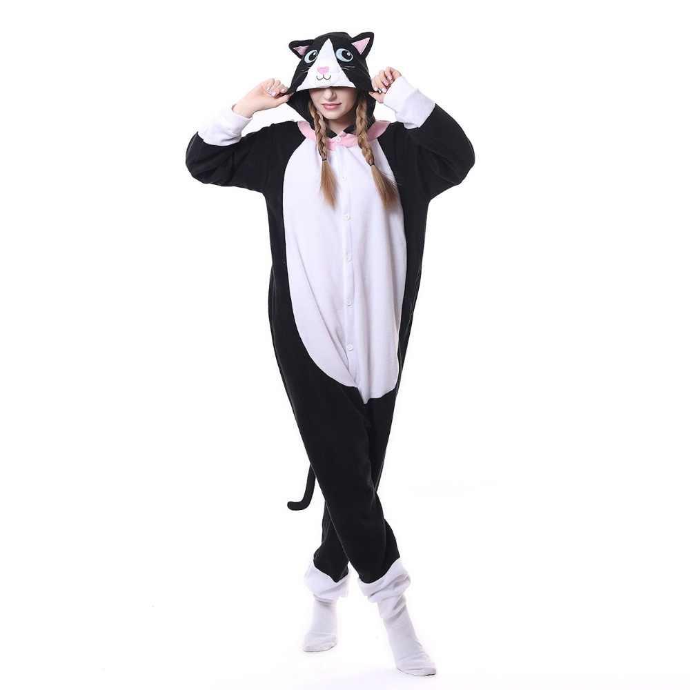 Phụ nữ MỚI Dễ Thương Black Cat Đồ Ngủ Bộ Dành Cho Người Lớn Flannel Đội Mũ Trùm Đầu Animal Cosplay Ngủ Unisex Người Đàn Ông Phụ Nữ Áo Pyjamas Mùa Đông