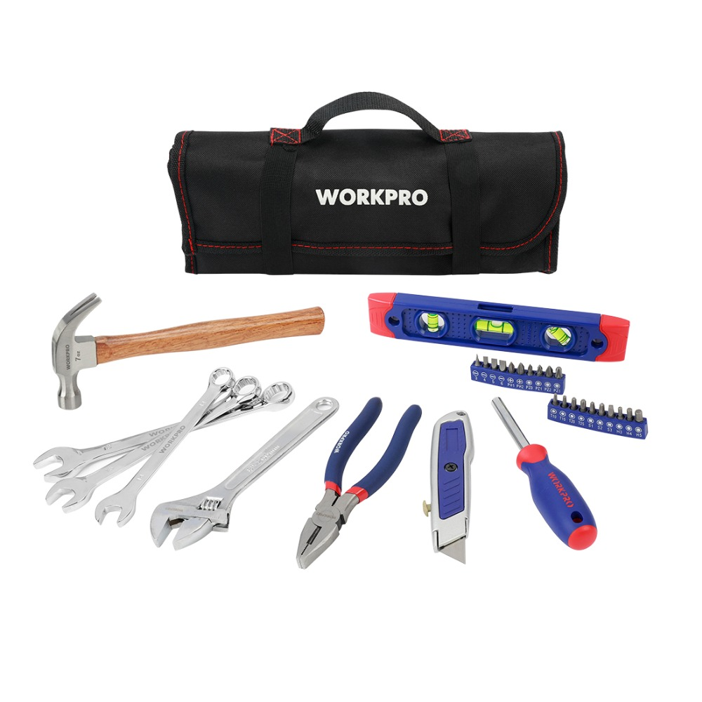 WORKPRO 29PC Tool Set Household Tool Set Hand Tools with Roll Bag Home Tool Kits