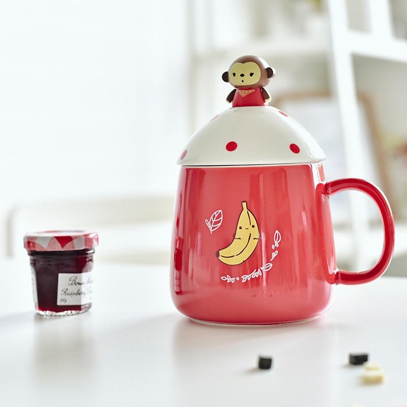 Lovely animal <font><b>ceramic</b></font> <font><b>cup</b></font> monkey rabbit cat <font><b>bear</b></font> on <font><b>cover</b></font> Milk <font><b>cup</b></font> gifts