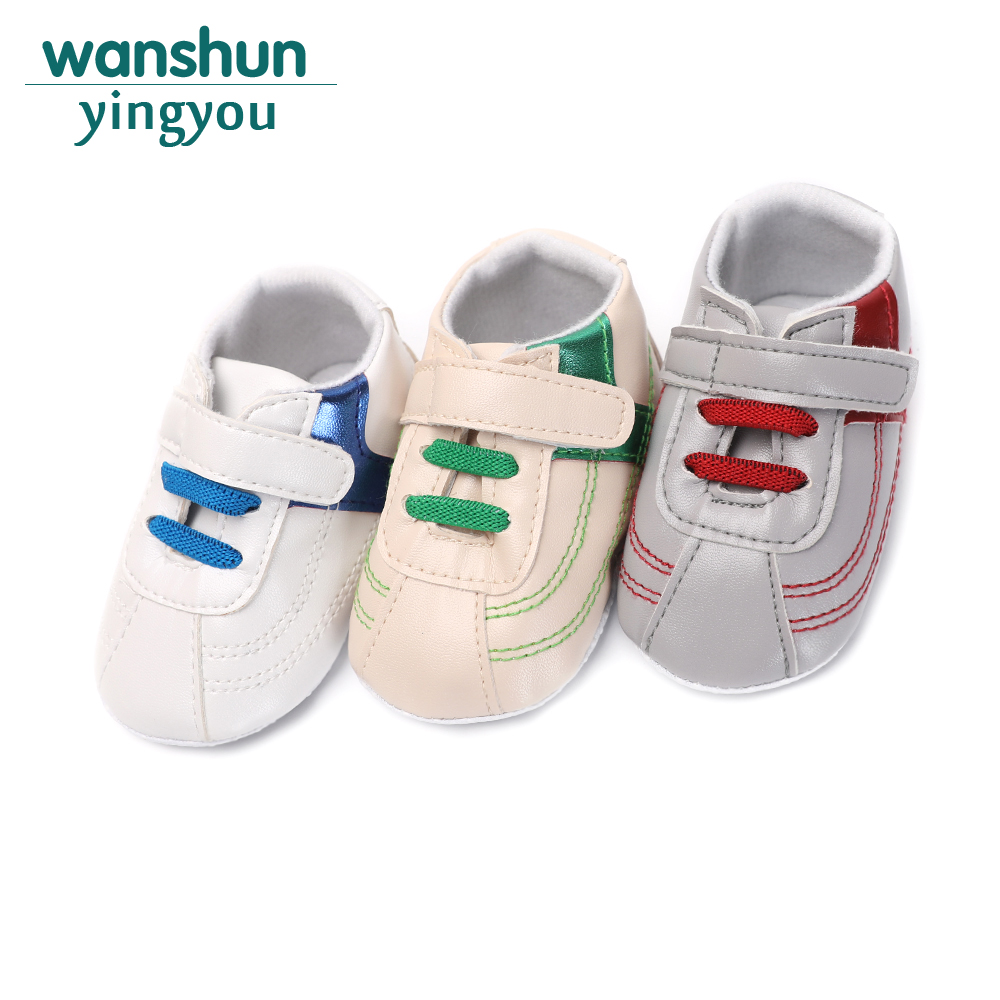 Cool All For Newborns Baby shoes Soft PU Leather Hook & Loop Toddler Crib Sole Anti-slip Boys Footwear Childrens Shoes 2018