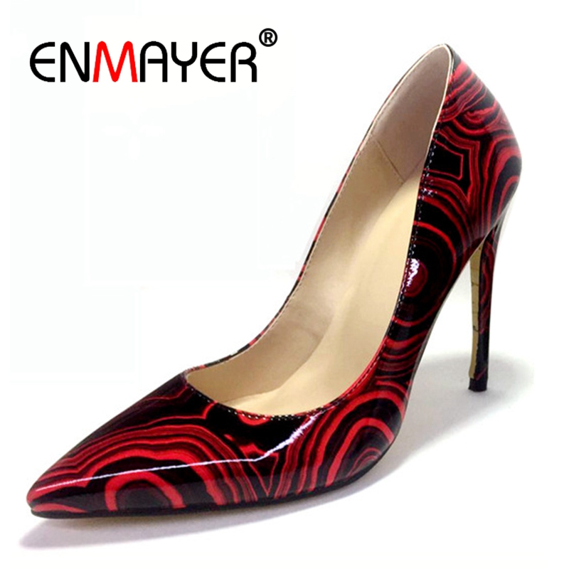 Enmayer Size32 45 Women Pumps 2018 Hot Leather Sexy Pointed Toe Ladies High Heel Shoes Wedding Court Floral Shoes Footwear CR608 in Women 39 s Pumps from Shoes