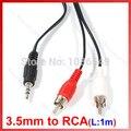 """""""3.5mm Jack Para 2 RCA Cabo Adaptador de Áudio para Ipod MP3 1 m"""
