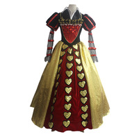 2017 Alice In Wonderland Red Queen Dress Cosplay Costume