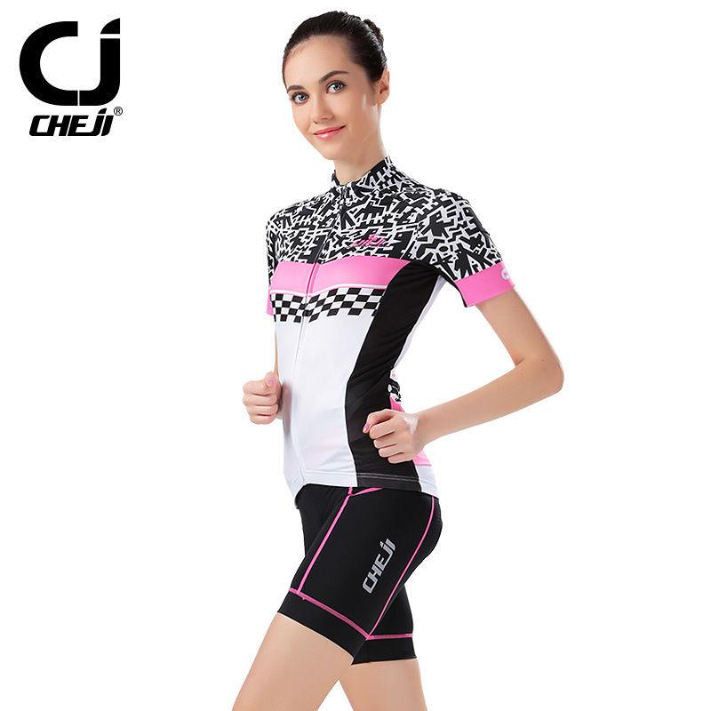 Pink Cheji Cycling Jersey And Shorts Padded Women Bike Jerseys / Shirts / T-shirts and Cycle Short Tights Set MTB Kit Short