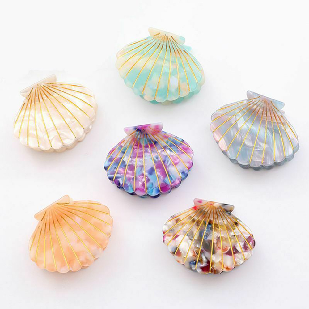 2019 New Fashion Women Shell Hair Claws Clip Acetate Resin Floral Print Clips Grips Ponytail Hairpins