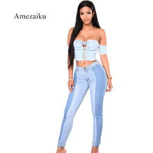 2017 vintage contrary color mid waist slim pencil pants women's Patchwork Jeans Trousers Skinny Slim Denim elasticity