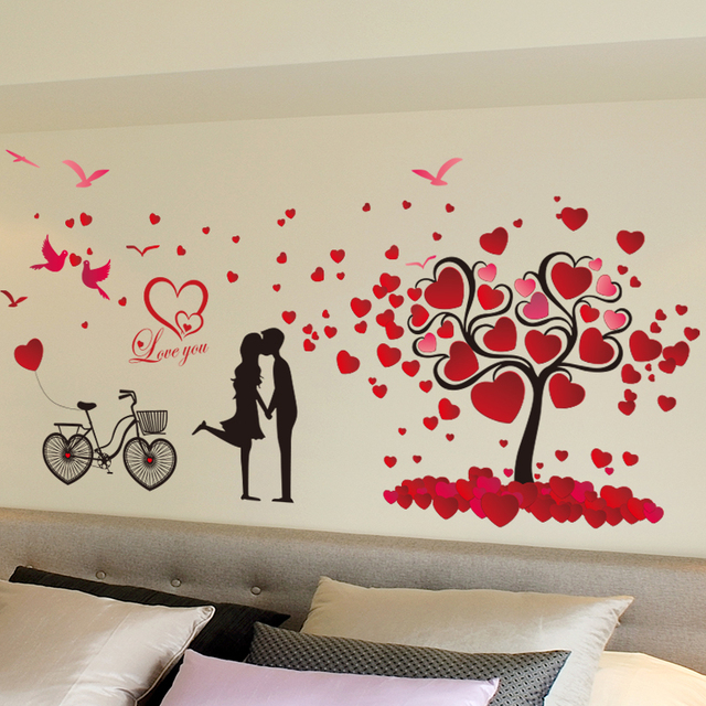 Marriage Room Wall Stickers Room Wall Decor Valentine Love Tree Heart  Cycling Lovers Couple Wallpaper 60