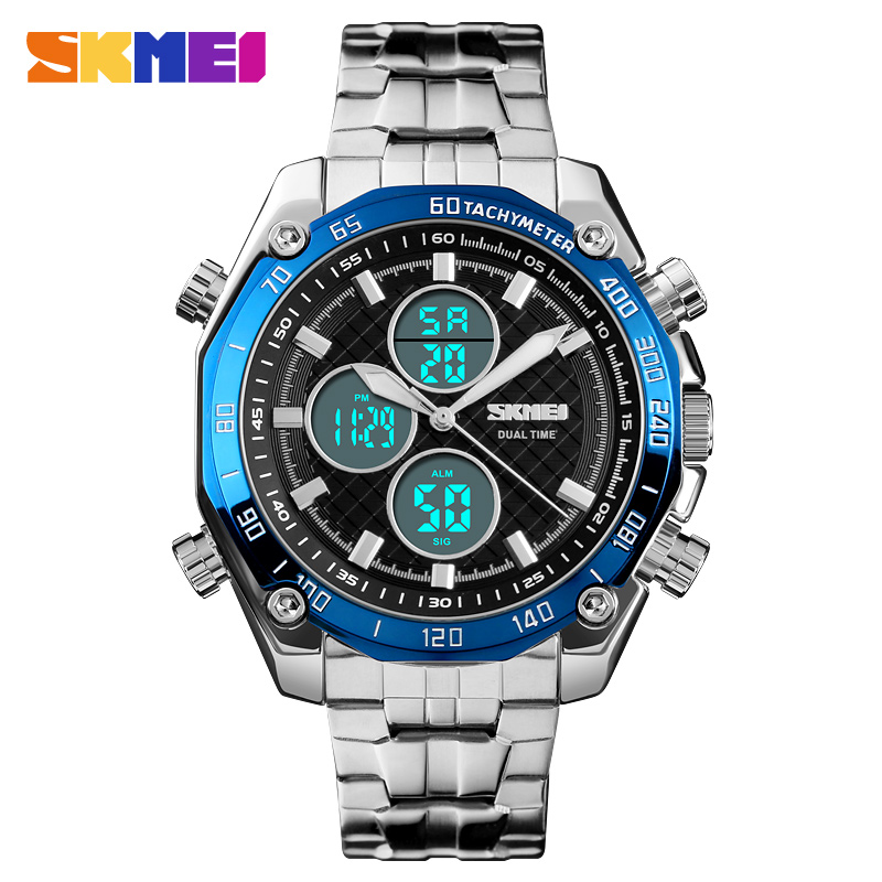 <font><b>SKMEI</b></font> Fashion casual dual display watch waterproof stainless steel wristband wristwatch luminous chronograph alarm clock image