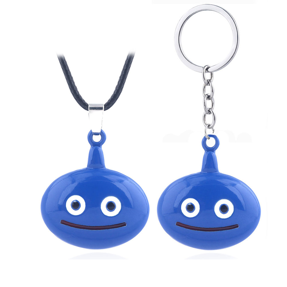Game Dragon Quest Warrior Kuesuto Keychain Blue Enamel Cute Slime Pendant Key Chain Women Men Choker Keyring Chaveiro Jewelry image