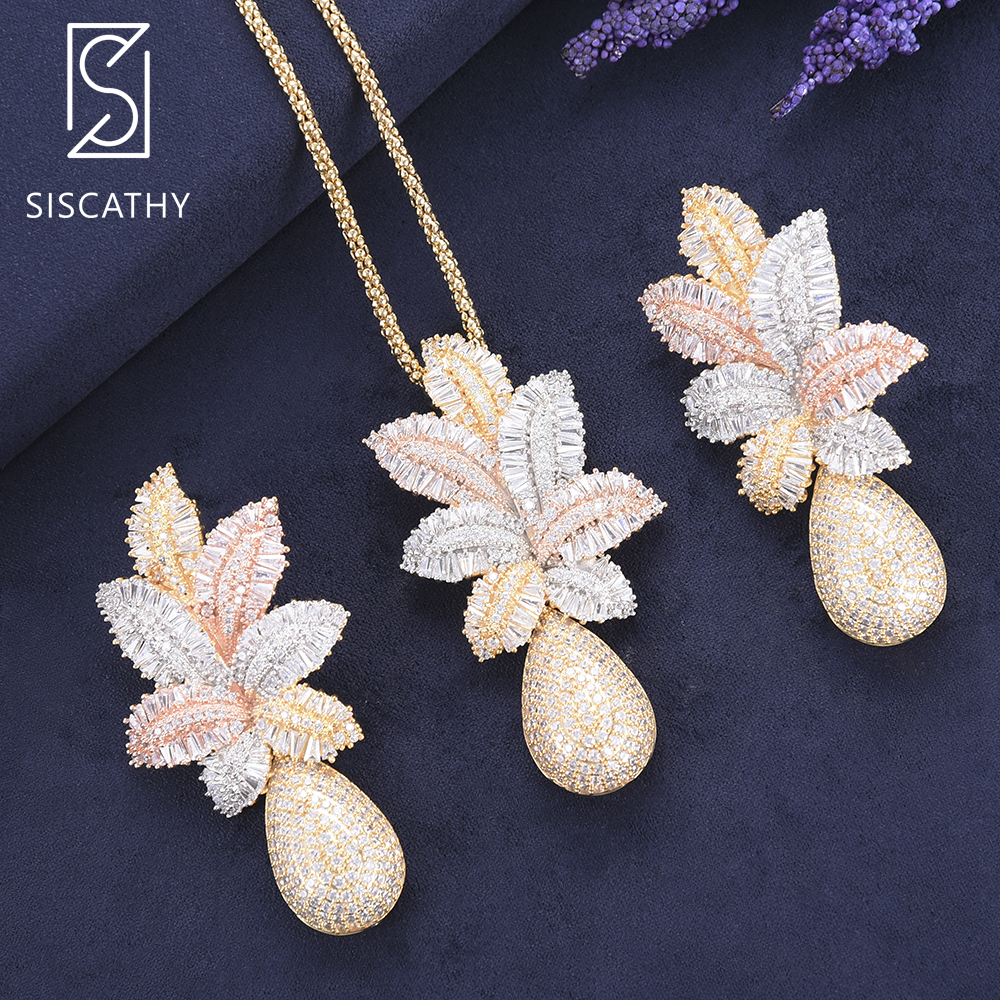 SisCathy Fashion Women Flower Long Chain Necklace Drop Dangle Earrings Jewelry Sets Indian Nigerian Wedding Jewelry Earring 2019SisCathy Fashion Women Flower Long Chain Necklace Drop Dangle Earrings Jewelry Sets Indian Nigerian Wedding Jewelry Earring 2019