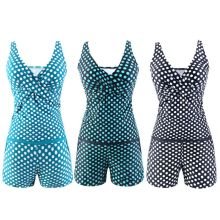 Women Plus Size Two Piece Tankini Set Deep V-Neck Vintage Polka Dot Cross Wrap Front Tank Top Mid Waist Boyshorts Bottoms With P купить недорого в Москве