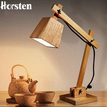 Horsten Creative Art Deco Wooden Table Lamp Desk Lamp Modern Industrial Wood Table Lamp Study Light Bedside Lamp Reading Light