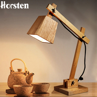 Horsten Creative Art Deco Wooden Table Lamp Desk Lamp Modern Industrial Wood Table Lamp Study Light Bedside Lamp Reading Light