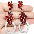 Long Big Created Orange Spessartine Garnet, White Cz Woman's Wedding  Silver Earrings 66x23mm