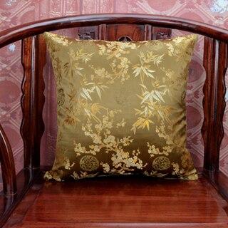 Ручной работы с цветочным принтом китайский стул подушка для дивана в этническом стиле Подушка под поясницу декоративные наволочки шелк атласная наволочка 45x45 см - Цвет: Коричневый
