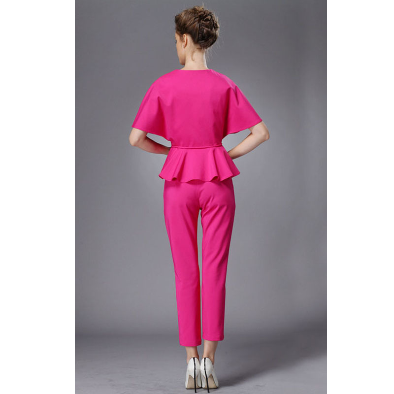 b7475a9619c Elegant Ladies Pants Suit New 2016 Top Fashion Summer Batwing Sleeve Womens  Suits Blazer With Pants 2 Piece Set Red Trouser Suit-in Pant Suits from  Women s ...