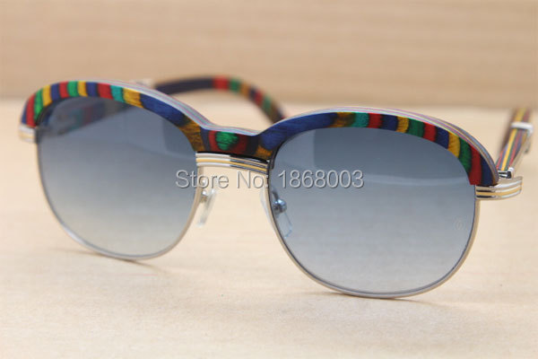 55aa434d4cb ... Cartier 1116443 Peacock Wood Sunglasses in Silver Gray 2016NEW (1) ...