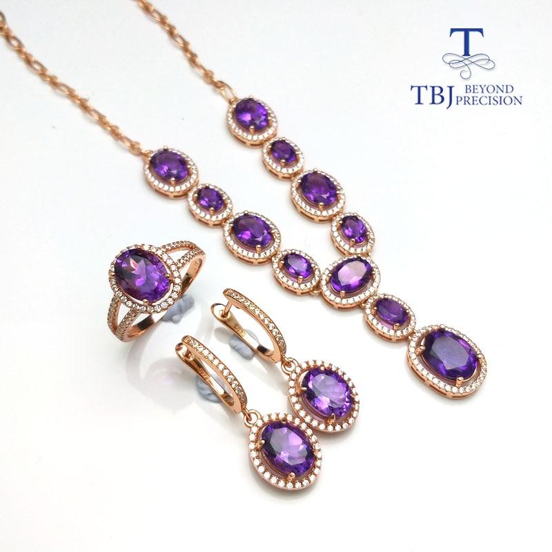 TBJ, простой классический комплект ювелирных изделий цепочки и ожерелья Кольцо Серьги с натуральный аметистовый драгоченный камень в 925 сере...