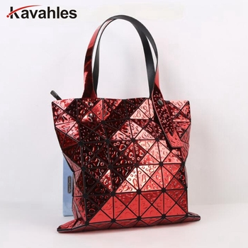 Egyedi geometriai erszényes lézer összecsukható táska táskák nőknek A geometriai kézitáska Ultra könnyű kivitelű LW-94 táska