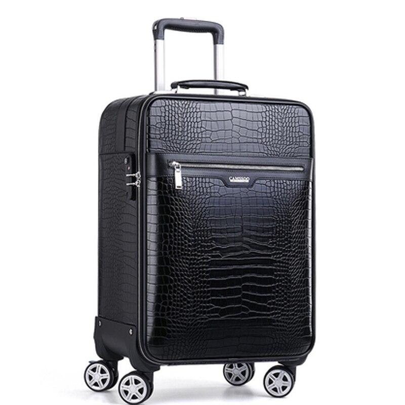 2018 Neue Männer Hohe Qualität Krokodil Muster Echte Kuh Leder Kabine Trolley Koffer Frauen Business Rolling Gepäck Auf Rädern Starke Verpackung
